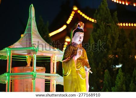 Buddha statue at a buddhish Temple during Wesak day at Kuala Lumpur Malaysia. - stock photo
