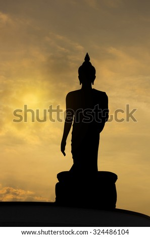 Buddha statue at Buddhamonthon during sunset