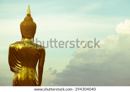 Buddha Statue at Wat Phra That Khao Noi in Nan province, northern of Thailand, retro color style - stock photo