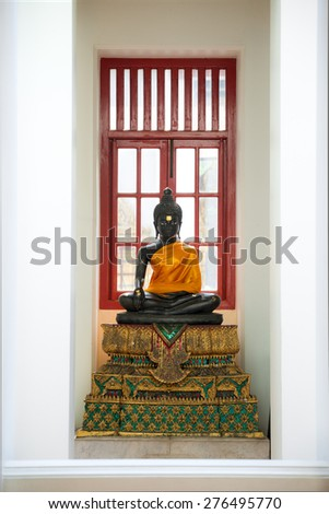 Buddha Statue, at Wat Ratchanadda in Bangkok, Thailand - stock photo
