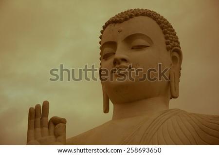 Buddha Statue,Buddha in Meditation,blue buddha portrai. - stock photo