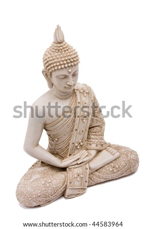 Buddha statue close up isolated against white background.