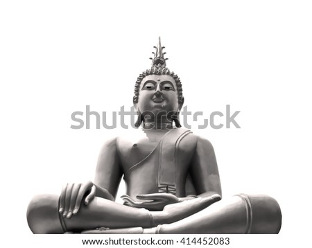 Buddha statue in black and white.