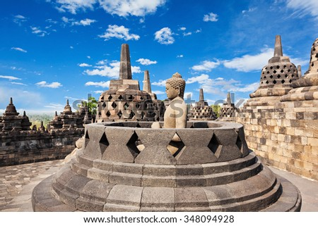 Buddha statue in Borobudur Temple, Java island, Indonesia. - stock photo