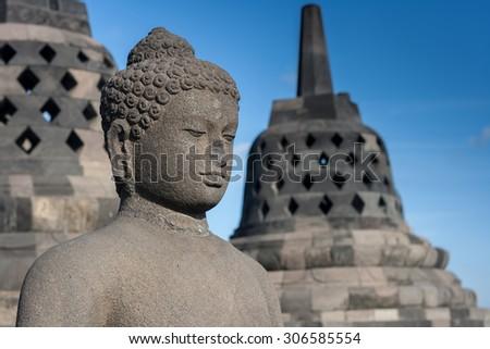 Buddha statue in Borobudur Temple Yogyakarta, Java, Indonesia - stock photo
