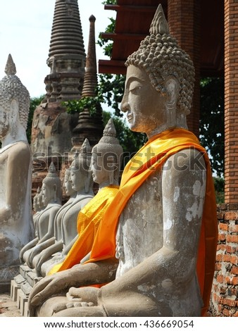 Buddha statue in buddism temple. Ayuttaya, Thailand - stock photo