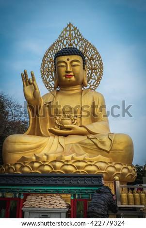 Buddha statue in Jeju island, Korea  - stock photo