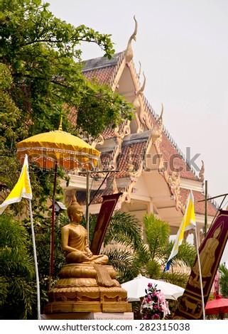 Buddha statue in thai temple - stock photo