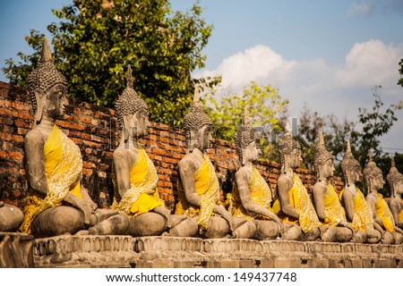 buddha statue in Thai Temple,Ayuttaya Province in Thailand,Free public history