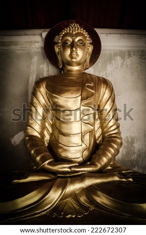 Buddha statue in Wat Phra That Hariphunchai temple , Thailand