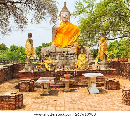 Buddha statue in Wat Wora Pho.Ayutthaya historical park.   - stock photo