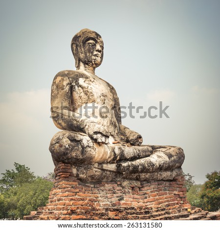 Buddha statue in Wat Worachetharam. Ayutthaya historical park.  - stock photo
