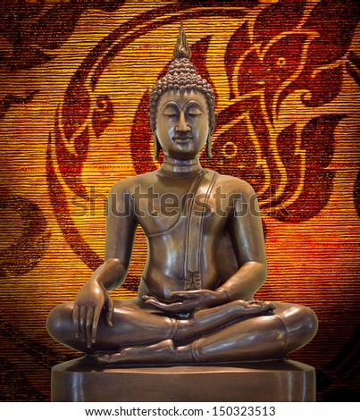 Buddha statue on a grunge background.