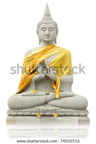 Buddha statue on a White background Thai art culture - stock photo