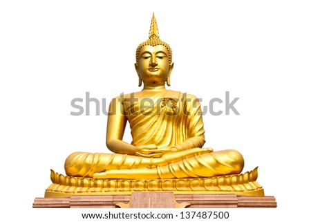 Buddha statue on isolate white background - stock photo