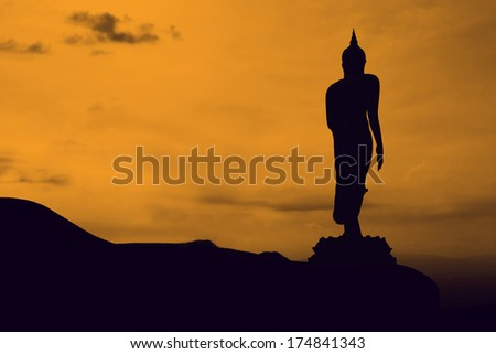 Buddha statue on mountain in Thailand Asia