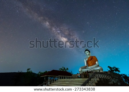 Buddha statue on the milky way background in Thailand - stock photo