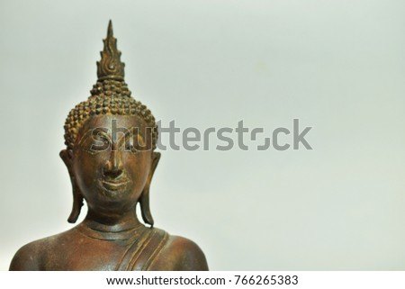 Buddha statue on the white background, the representative of the Lord Buddha.