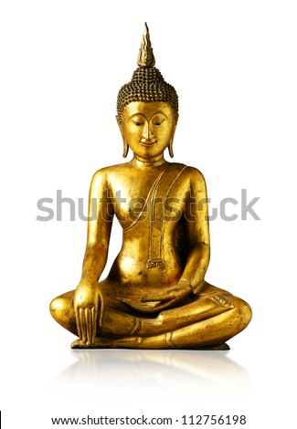 Buddha statue on white background - isolated, Thailand - stock photo