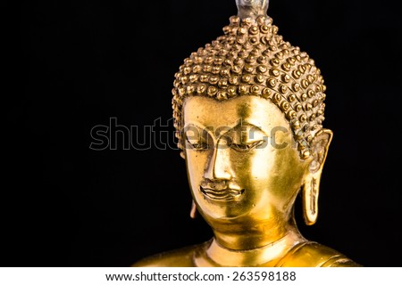 buddha statue on white background,statue in Buddhist Thailand  temple or wat,  are public  domain  or treasure of Buddhism ,no restrict in copy or use . This photo  taken   these  conditions - stock photo