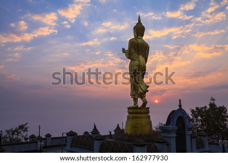 Buddha statue standing at Wat Phra That Khao Noi in Nan,Thailand