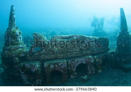 Buddha statue, underwater Buddha temple of Tulamben, Bali, Indonesia. - stock photo