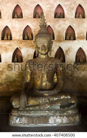 Buddha statue, Wat Sisaket, Vientiane, Laos. - stock photo