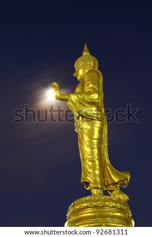 Buddha statue with light from the moon