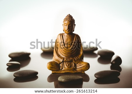 Buddha statue with stone circle shot in studio - stock photo