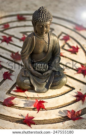 Buddha statue with the word Meditation - stock photo