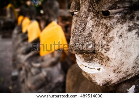Buddha statues at the temple of Wat Yai Chaimongkol in Ayutthaya.selective focus