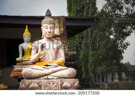 Buddha statues at Wat Phu Khao Thong temple in Ayutthaya. Thailand. - stock photo