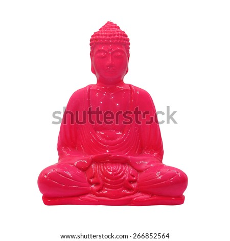 buddha statuette isolated on a white background - stock photo