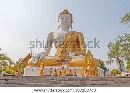 buddha stucco in thailand - stock photo