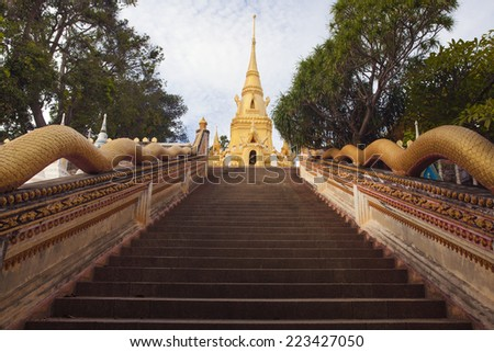 Buddha temple. Steps to the temple - stock photo