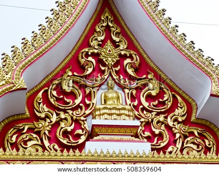 buddha temple thai striped gable entrance gold line on red background small  temple pattaya beach chonburi thailand learn about thai art thai tradition for education