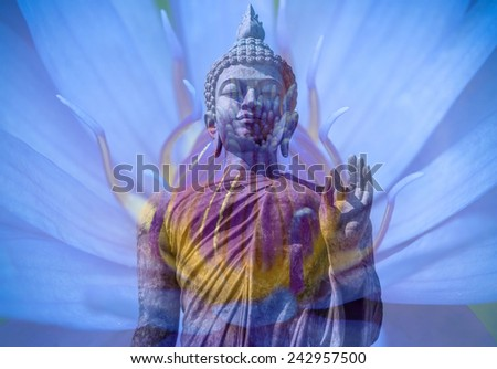 buddha with purple lotus transparent background - stock photo