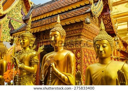 Buddhas in Wat Phra That Doi Suthep - Chiang Mai, Thailand - stock photo
