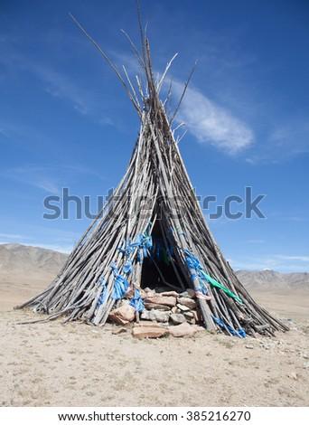 Buddhism and Shamanism in the Mongolian desert - stock photo