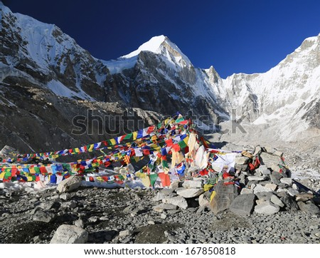 buddhism flag everest basecamp  from nepal in everest himalaya trek
