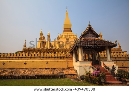 Buddhism is rooted in the culture of Laos. - stock photo