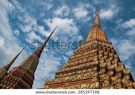 Buddhism pagoda of temple in Bangkok, Thailand - stock photo