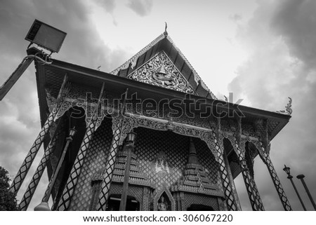Buddhism Temple High Angle Black and White