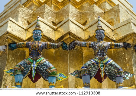 Buddhist Art in ancient temple , Thailand.