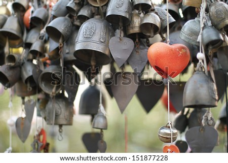 buddhist bells lucky charms in Thailand - stock photo