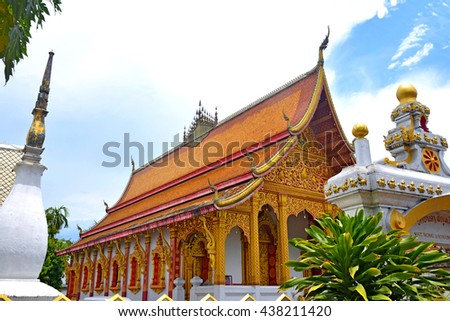 Buddhist church in Luang Prabang, Laos - stock photo