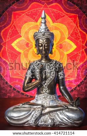 buddhist home sanctuary - stock photo