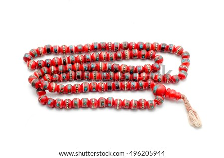 Buddhist Mala Prayer Beads from bone yak. Isolated on white.