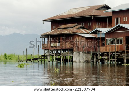 Buddhist monastery in the middle of Inle Lake  - stock photo