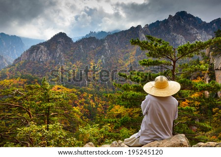 Buddhist monk meditation at seorak mountains at the Seorak-san National Park, Soraksan, South korea  - stock photo